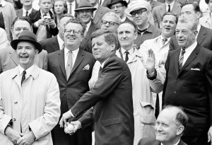 President John F. Kennedy opening the American League season at a Washington Senators game, April 8, 1962.